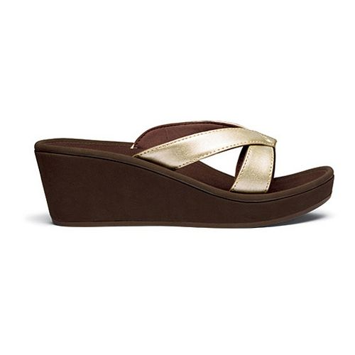 Womens OluKai Ohana Wedge Sandals Shoe - White Gold/Dark Java 10