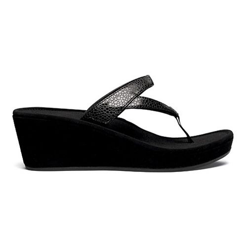 Womens OluKai Kulapa Kai Wedge Sandals Shoe - Black/Black 8