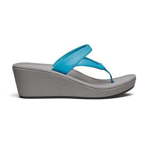 Womens OluKai Kulapa Kai Wedge Sandals Shoe - Coastal Blue/Grey 5