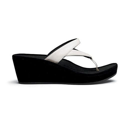 Womens OluKai Kulapa Kai Wedge Sandals Shoe - White/Black 7
