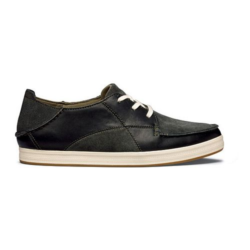 Mens OluKai Pahono Casual Shoe - Black/Dark Olive 8