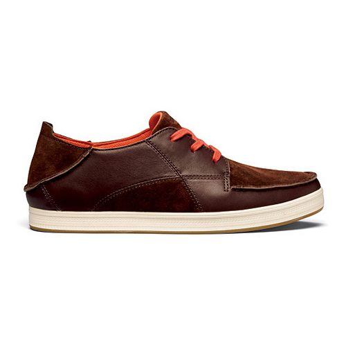 Mens OluKai Pahono Casual Shoe - Dark Wood/Magma 14