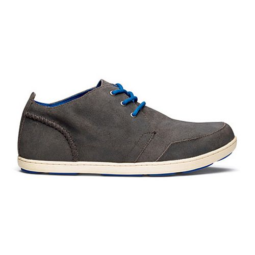 Mens OluKai Maki Suede Casual Shoe - Storm Grey/Bone 10