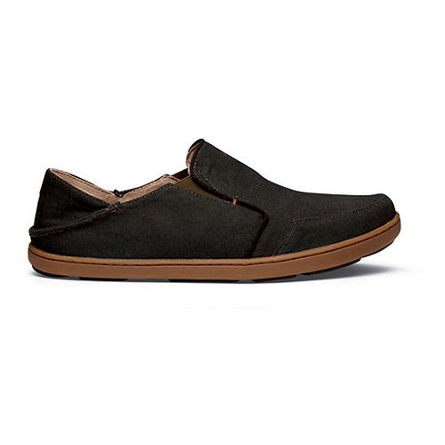 Mens OluKai Nohea Twill Casual Shoe - Black/Seal Brown 11