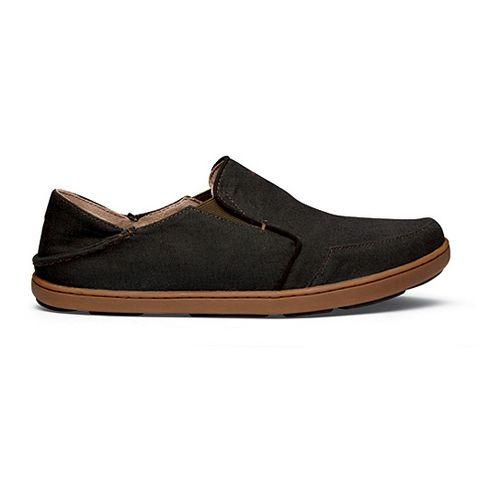 Mens OluKai Nohea Twill Casual Shoe - Black/Seal Brown 7
