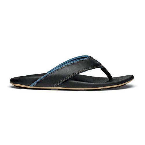 Mens OluKai Kikaha Sandals Shoe - Black/Pale Ocean 7