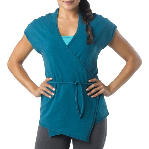 Womens Prana Macie Wrap Short Sleeve Technical Tops - Ink Blue L
