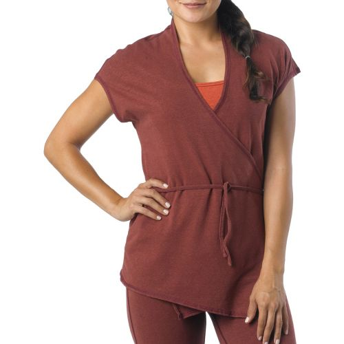 Womens Prana Macie Wrap Short Sleeve Technical Tops - Raisin S