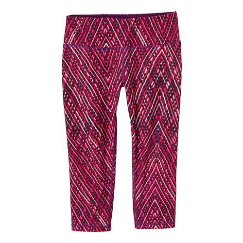 Womens Prana Maison Knicker Capri Tights - Pink Berry/Sierra XL