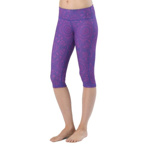 Womens Prana Maison Knicker Capri Tights - Sail Blue Mayan L