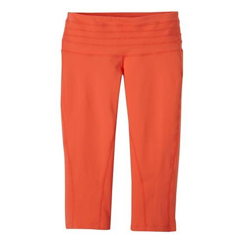 Womens Prana Olympia Knicker Capri Tights - Neon Orange XL