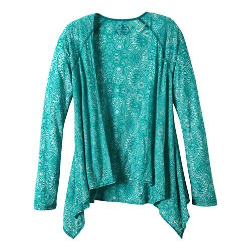 Womens Prana Julz Burnout Wrap Warm-Up Unhooded Jackets - Dynasty Green L