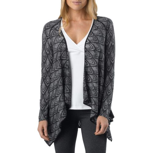Womens Prana Julz Burnout Wrap Warm-Up Unhooded Jackets - Black S