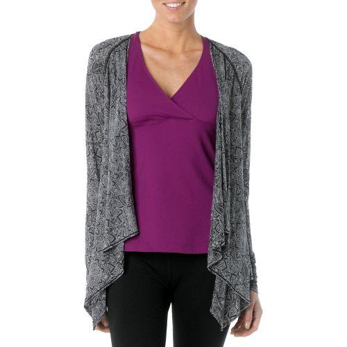 Womens Prana Julz Burnout Wrap Warm-Up Unhooded Jackets - Black/Posy L