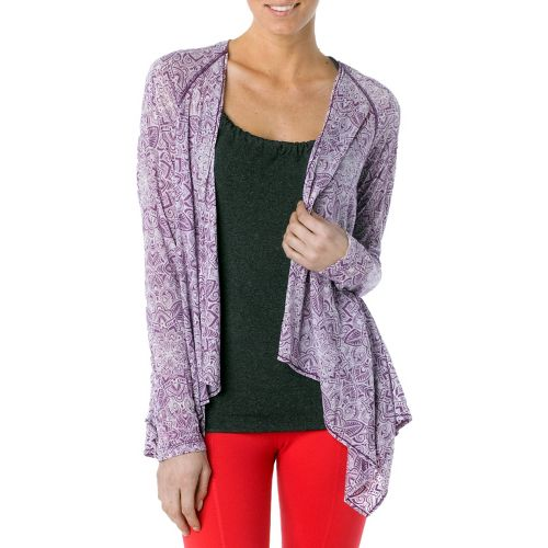 Womens Prana Julz Burnout Wrap Warm-Up Unhooded Jackets - Red Violet/Posy M