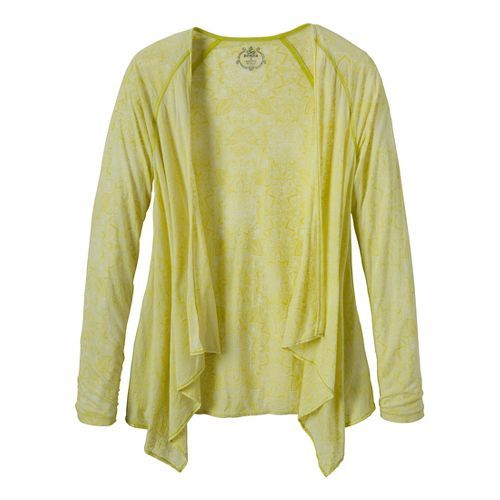 Womens Prana Julz Burnout Wrap Warm-Up Unhooded Jackets - Wild Lime/Posy L