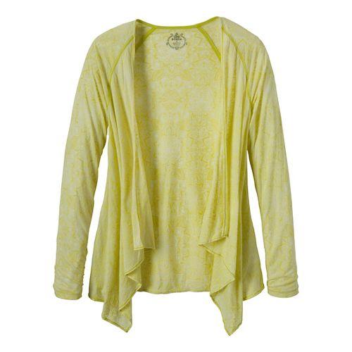 Womens Prana Julz Burnout Wrap Warm-Up Unhooded Jackets - Wild Lime/Posy M