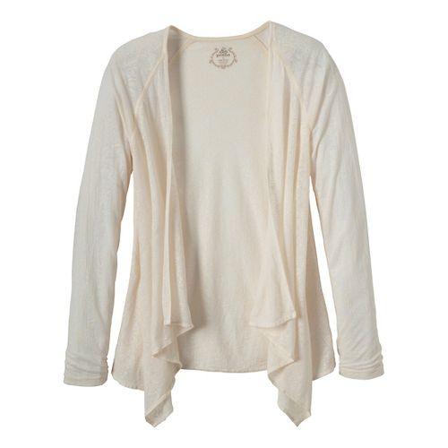 Womens Prana Julz Burnout Wrap Warm-Up Unhooded Jackets - Winter/Posy XL