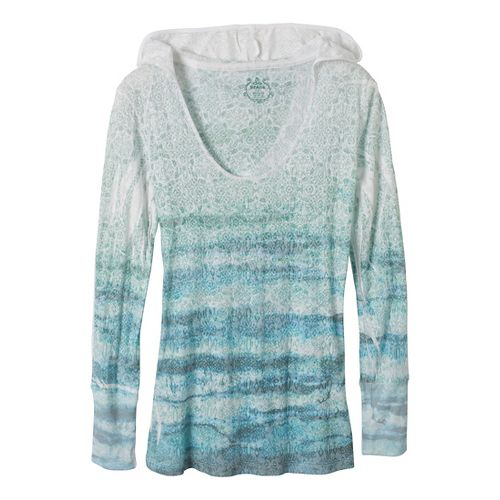 Womens Prana Julz Hoodie Technical Tops - Deep Turquoise XS
