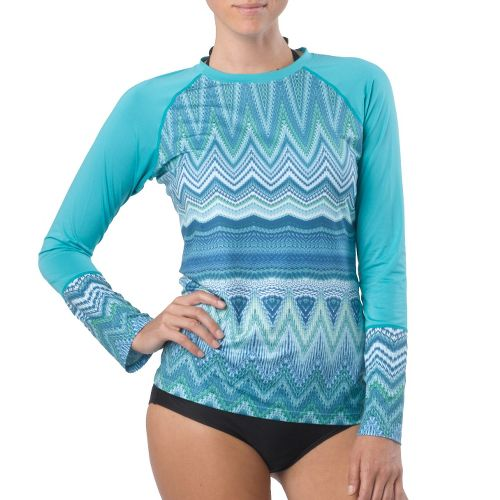 Womens Prana Rory Sun Long Sleeve No Zip Technical Tops - Lagoon XL