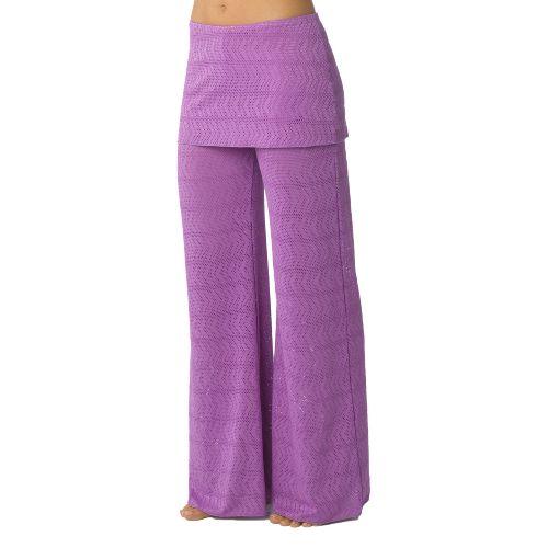 Womens Prana Satori Mesh Full Length Pants - Dewberry L
