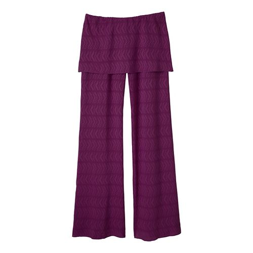 Womens Prana Satori Mesh Full Length Pants - Red Violet M