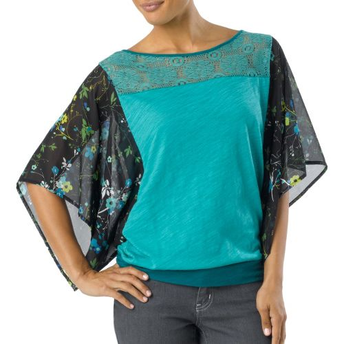 Womens Prana Lorielle Short Sleeve Non-Technical Tops - Dragonfly M