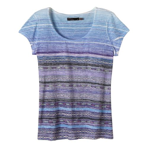 Womens Prana Ribbon Tee Short Sleeve Technical Tops - Bijou Blue XL