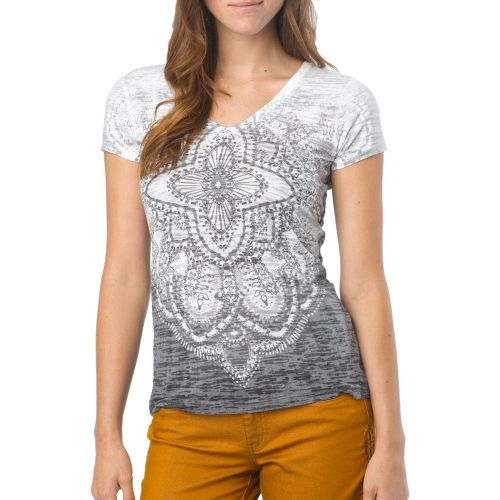 Womens Prana Chai V Neck Tee Short Sleeve Technical Tops - Black S