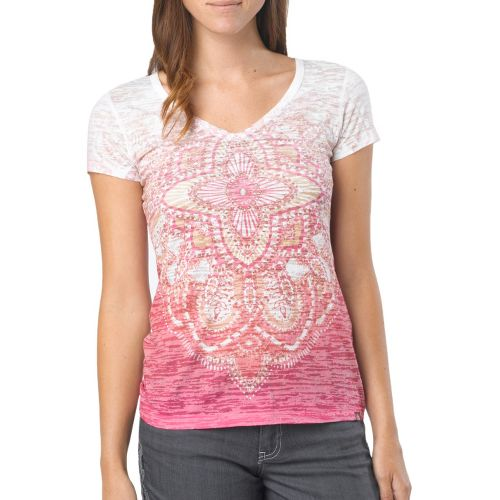 Womens Prana Chai V Neck Tee Short Sleeve Technical Tops - Deep Fuchsia L