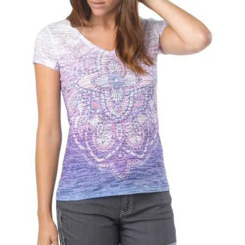 Womens Prana Chai V Neck Tee Short Sleeve Technical Tops - Dewberry M