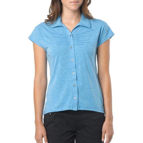 Womens Prana Alesandra Short Sleeve Non-Technical Tops - Azure XL