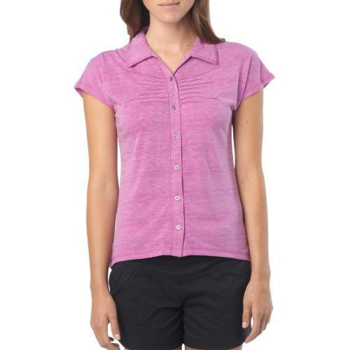 Womens Prana Alesandra Short Sleeve Non-Technical Tops - Summer Plum L