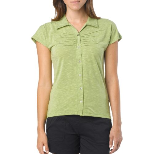 Womens Prana Alesandra Short Sleeve Non-Technical Tops - Spinach S