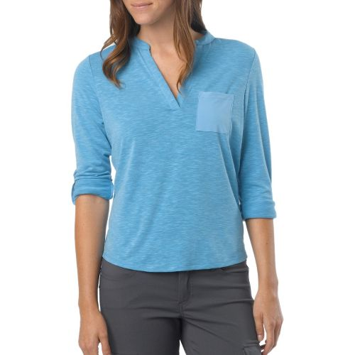Womens Prana Ashlyn Long Sleeve Non-Technical Tops - Azure M