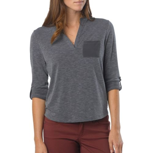 Womens Prana Ashlyn Long Sleeve Non-Technical Tops - Coal L