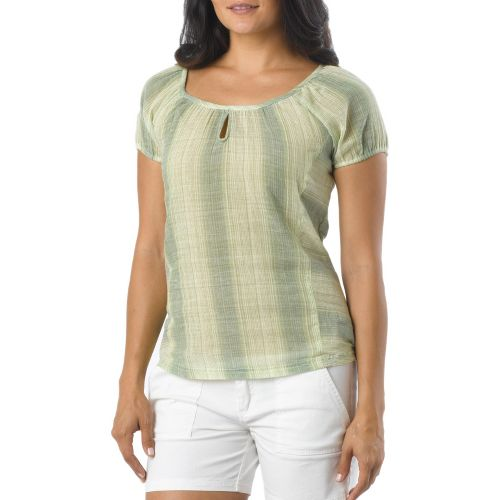 Womens Prana Whitney Short Sleeve Non-Technical Tops - Spinach M