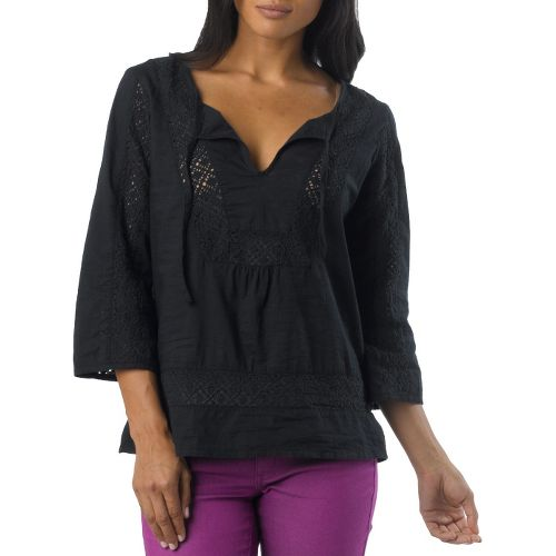 Womens Prana Sofie Long Sleeve Non-Technical Tops - Black XS