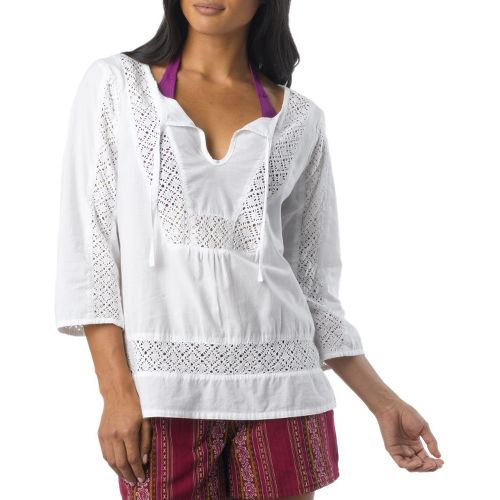 Womens Prana Sofie Long Sleeve Non-Technical Tops - White XS