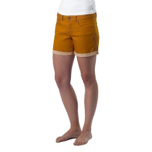 Womens Prana Kara Denim Unlined Shorts - Cumin 4