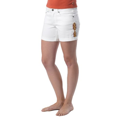 Womens Prana Kara Denim Unlined Shorts - White 2