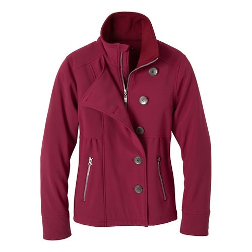 Womens Prana Martina Warm-Up Unhooded Jackets - Plum Red L