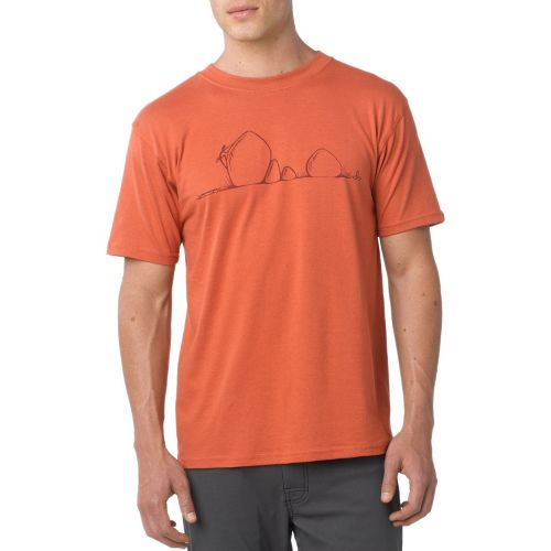 Mens Prana Boulder Short Sleeve Technical Tops - Indian Red M