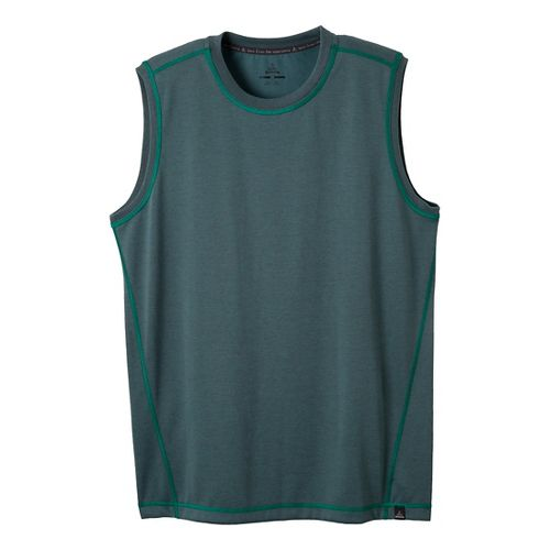 Mens Prana Crux Sleeveless Technical Tops - Dusty Teal M