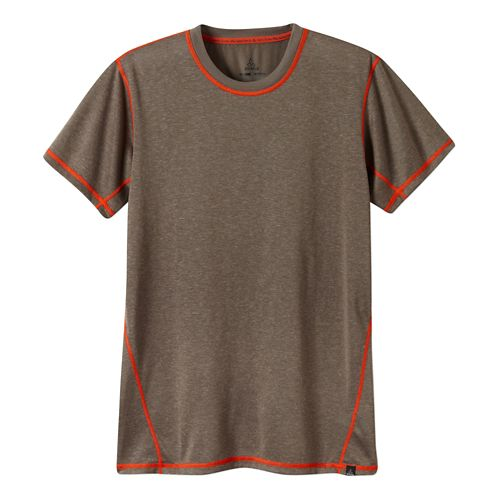 Mens Prana Crux Crew Short Sleeve Technical Tops - Mud XXL
