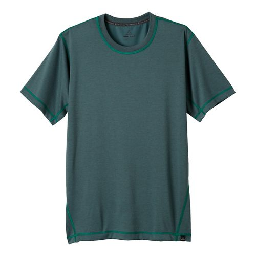Mens Prana Crux Crew Short Sleeve Technical Tops - Dusty Teal XL