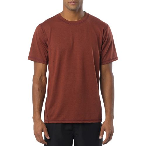 Mens Prana Crux Crew Short Sleeve Technical Tops - Raisin S
