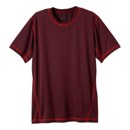 Mens Prana Crux Crew Short Sleeve Technical Tops - Rich Cocoa XXL