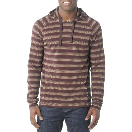 Mens Prana Momentum Hood Warm-Up Hooded Jackets - Brown M