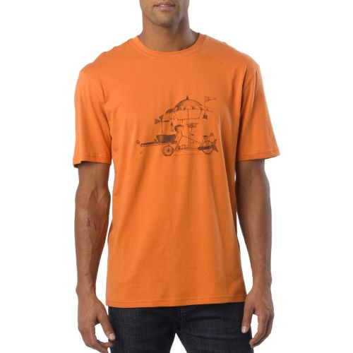 Mens Prana Conscious Cruiser Short Sleeve Non-Technical Tops - Pumpkin S